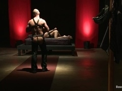 Justin Ryder gets his mouth and ass pounded in BDSM scene