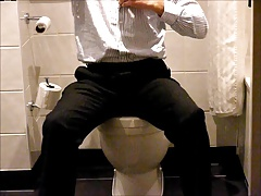 Piss and wank in hotel bathroom