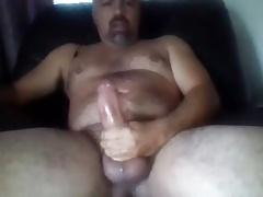 Sexy bear edging his big cock