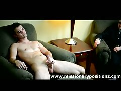 Hot gay guy jerks off infront of hot suited gay guy