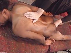 Cree lets go of reality and starts to enjoy the massage