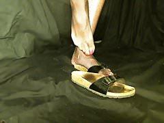 Crossdresser feet in birkenstock with net stockings pink toe
