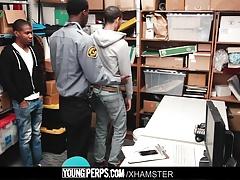 Black hung mall cop barebacks two young shoplifting perps