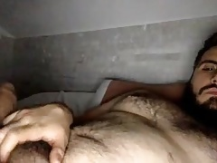HAIRY LATIN BEAR CUB CUMS ALL OVER HIS HAIRY BELLY