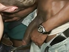 White twink get gang banged by a number of black guys !