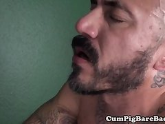 Buttfucked bear cums while riding bbc