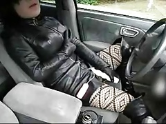 fake lady black leather