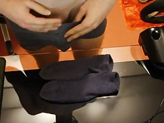 Cum on jeans blue Puma socks