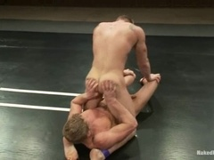 Two muscled dudes enjoy banging after having a fight