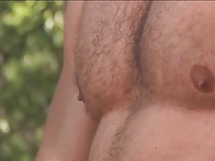 Hot dad jerks off in the forrest