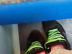 His stinky pink socks on the bus tease