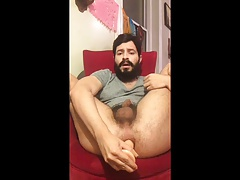 Bearded daddy with a dildo