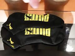 Cum on black Puma socks
