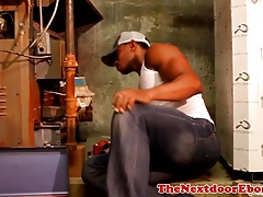 Black handyman solo rubbing his big tool