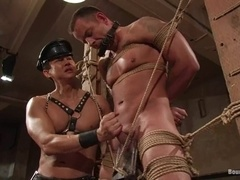 Bulky poof gets tied up, humiliated and fucked by a twink