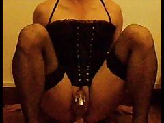 sissy chastity riding dildo