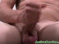 Amateur marine jerking his dick