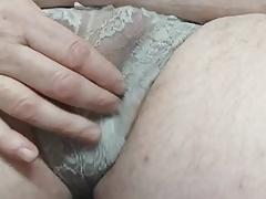 Wanking my little cock in panties