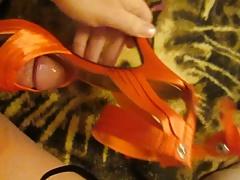 Fucking Sexy Orange Strappy High Heels