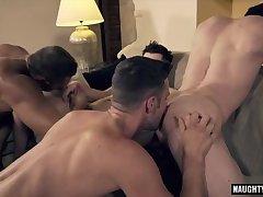 Hot gay double penetration and facial