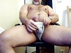 thick daddy bear in jock strap jerking his thick cock
