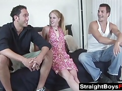 Horny blonde gets fucked from behind by Matt and Johnny