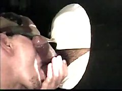 Throat workout through gloryhole