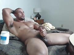 Muskle hung jerks off, big o