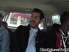 Dude rides 2 black cocks