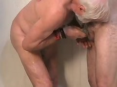Two older men getting off