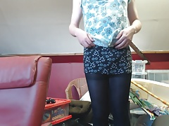 CD masturbation - Tights & miniskirt