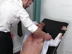 Friend tickles his best friend in an evil tickle dungeon
