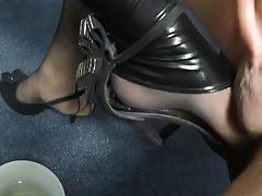 Cum on CD latex legs and feet