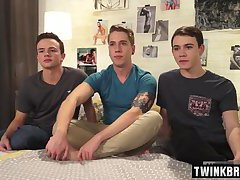 Big dick twink threesome with cum in ass