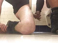 Hand job in publick restroom