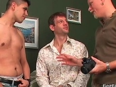 Fella gets loaded with hot man-loving jizz