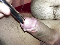 Fucking my cock using a steel urethral sound with cumshot