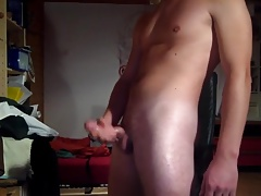 Guys stroking their hard cocks and shooting hot cum loads 9