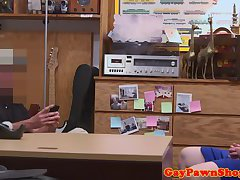 Straight pawnshop amateur assfucked in trio
