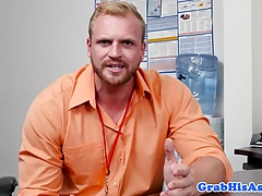 Office hunk sucking employee before analsex