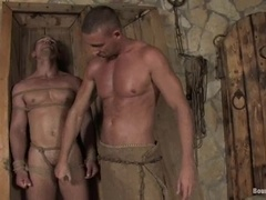 Fag gets his ass whipped and fucked after giving head to his BF