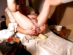 Noisy dildo session with gaping asshole