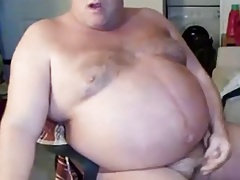 Daddy with big belly wanking