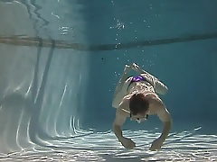 Purple bikini in the pool
