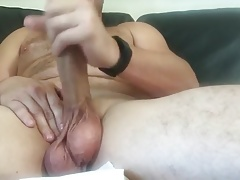 Hairy Dad Strokes His Cock to Cumpletition
