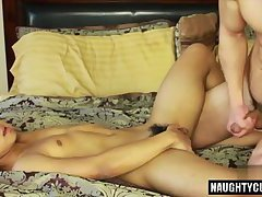 Asian gay anal and cumshot