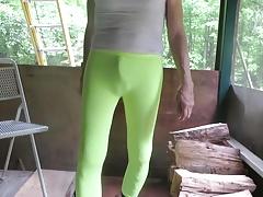 Sissy bitch in skin-tight spandex leggings