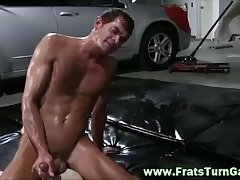 Straight guys jerk off on his friend