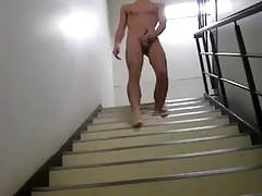 Asian gay jerks on the staireway