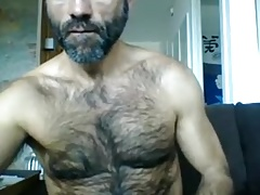 Hot Hairy Daddy Jerks off